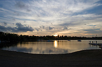 Fishing at sunset, Wethersfield Cove, near the Connecticut River, Wethersfield, CT