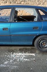 Smashed car window,