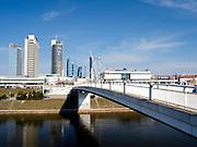 Vew of a Vilnius shopping area from the White Bridge over the Neris River; Vilnius, Lithuania.