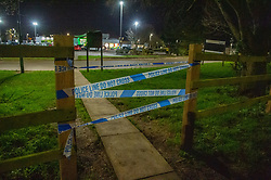 © Licensed to London News Pictures. 18/01/2020. Milton Keynes, UK. Police tape across an entrance to the motorway services as Police and Search & Rescue volunteers are searching a motorway services and surrounding area after 6-year-old Aadil Umair Rahim went missing from the Newport Pagnell Services just off the M1 motorway at around 19:15 GMT. Photo credit: Peter Manning/LNP