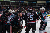KELOWNA, CANADA - NOVEMBER 11: Kyle Pow #21 of the Kelowna Rockets cross checks Lukus MacKenzie #25 of the Red Deer Rebels in front of the bench on November 11, 2017 at Prospera Place in Kelowna, British Columbia, Canada.  (Photo by Marissa Baecker/Shoot the Breeze)  *** Local Caption ***