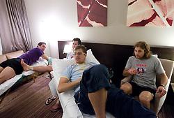 Ziga Pavlin, Mitja Robar, Marcel Rodman and Robert Kristan of Slovenian National Ice Hockey team in a massage room in the hotel Holiday Inn at IIHF 2011 World Championship Slovakia, on May 4, 2011 in Bratislava, Slovakia. (Photo By Vid Ponikvar / Sportida.com)