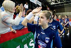 Alja Jankovic of Slovenia after the Women European Championships Qualifying handball match between National Teams of Slovenia and Belarus, on October 17, 2009, in Kodeljevo, Ljubljana.  (Photo by Vid Ponikvar / Sportida)