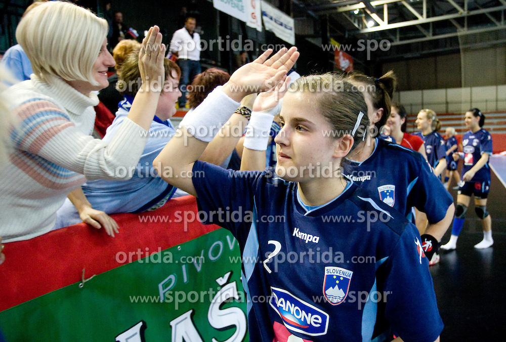Alja Jankovic of Slovenia after the Women European Championships Qualifying handball match between National Teams of Slovenia and Belarus, on October 17, 2009, in Kodeljevo, Ljubljana.  (Photo by Vid Ponikvar / Sportida)