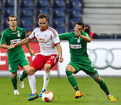 22.08.2013, Red Bull Arena, Salzburg, AUT, UEFA EL Play Off, FC Red Bull Salzburg vs VMFD Zalgiris, Hinspiel, im Bild Andreas Ulmer, (FC Red Bull Salzburg, #17) und Rytis Leliuga, (VMFD Zalgiris Vilnius, #9)// during UEFA Europa League Qualification 1st Leg Match between FC Red Bull Salzburg and VMFD Zalgiris at the Red Bull Arena, Salzburg, Austria on 2013/08/22. EXPA Pictures © 2013, PhotoCredit: EXPA/ Roland Hackl