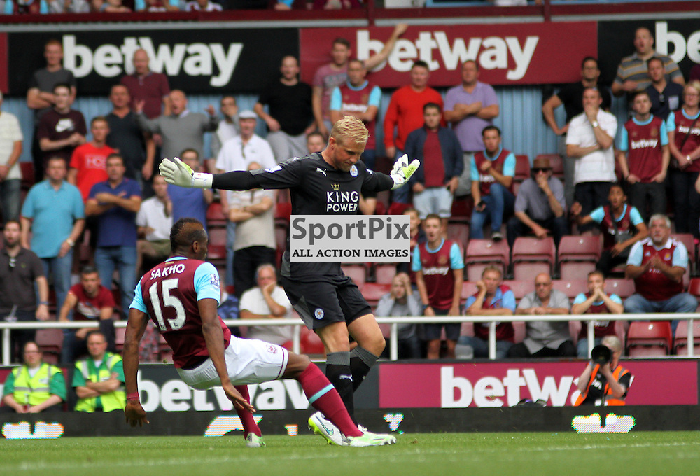 Kasper Schmeichel fouls Diafra sakho During West Ham United vs Leicester City on Saturday the 16th August 2015.
