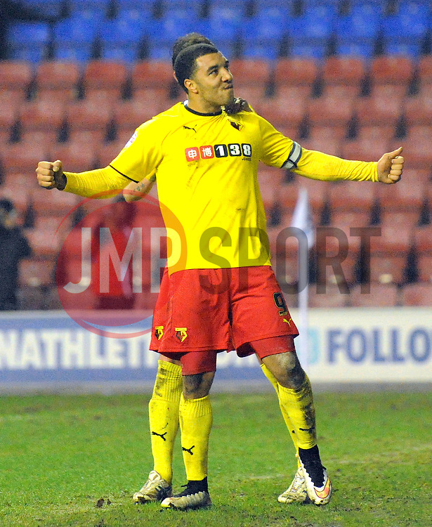 Watford's Troy Deeney celebrates scoring his team's second goal from a penalty kick - Photo mandatory by-line: Richard Martin-Roberts/JMP - Mobile: 07966 386802 - 17/03/2014 - SPORT - Football - Wigan - DW Stadium - Wigan Athletic  v Watford - Sky Bet Championship