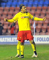 Watford's Troy Deeney celebrates scoring his team's second goal from a penalty kick - Photo mandatory by-line: Richard Martin-Roberts/JMP - Mobile: 07966 386802 - 17/03/2014 - SPORT - Football - Wigan - DW Stadium - Wigan Athletic  v Watford - Sky Bet Championship