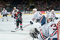 KELOWNA, CANADA - SEPTEMBER 24: Dallas Valentine #6 of the Kamloops Blazers tries to block a shot from Tomas Soustal #15 of the Kelowna Rockets on September 24, 2016 at Prospera Place in Kelowna, British Columbia, Canada.  (Photo by Marissa Baecker/Shoot the Breeze)  *** Local Caption *** Tomas Soustal; Dallas Valentine;