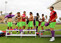 Bristol City players prepare moments before kick off - Mandatory by-line: Matt McNulty/JMP - 22/07/2017 - FOOTBALL - Tenerife Top Training - Costa Adeje, Tenerife - Bristol City v Atletico Union Guimar  - Pre-Season Friendly