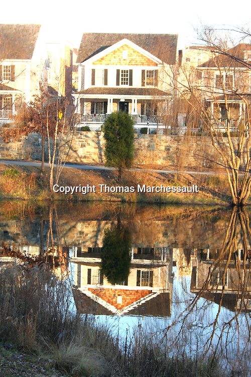 Reflection of Booth Street house in Lake Veruna, Kentlands, Gaithersburg, Maryland