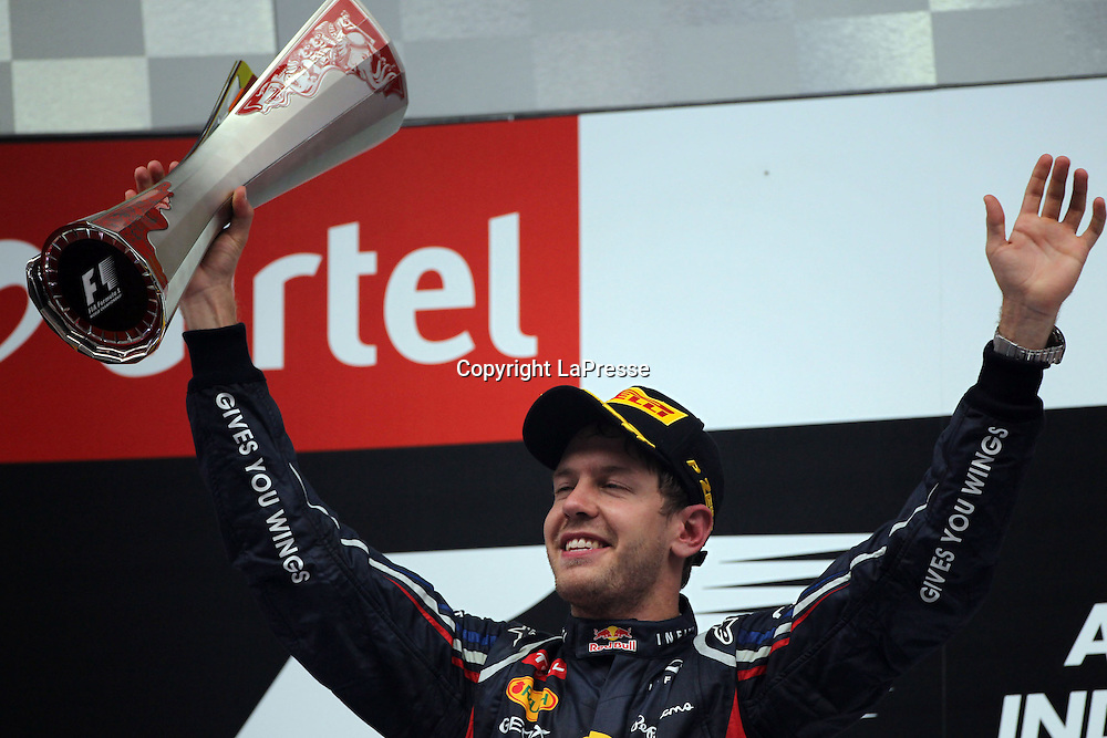 &copy; Photo4 / LaPresse<br /> 28/10/2012 Noida, India<br /> Sport <br /> Indian Grand Prix, Noida 25-28 October 2012<br /> In the pic: Sebastian Vettel (GER), Red Bull Racing, RB8 Race winner