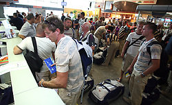 Iztok Cop and Members of Slovenian Rowing Olympic Team at departure to Beijing 2008 Olympic games, on July 31, 2008, at Airport Jozeta Pucnika, Brnik, Slovenia. (Photo by Vid Ponikvar / Sportal Images)/ Sportida)