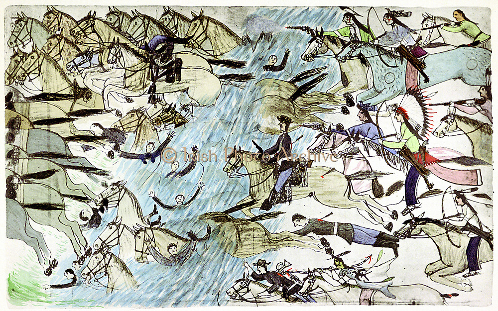 General Custers troops being chased across river by pursuing Native Americans. Battle of Little Big Horn, 25-26 June 187.  Native American painting c1900.