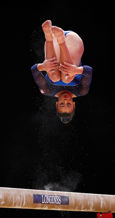 2015 Artistic Gymnastics World Championships being held in Glasgow from 23rd October to 1st November 2015...Elissa Downie (Great Britain) competing in the Balance Beam competition of the Women's Team Final...(c) STEPHEN LAWSON | SportPix.org.uk