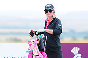 Paula Creamer in relaxed mood on the first tee at the Aberdeen Standard Investments Ladies Scottish Open 2018 at Gullane Golf Club, Gullane, Scotland on 28 July 2018. Picture by Kevin Murray.