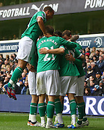 Picture by Paul Chesterton/Focus Images Ltd.  07904 640267.09/04/12.Anthony Pilkington of Norwich scores his sides 1st goal and celebrates during the Barclays Premier League match at White Hart Lane Stadium, London.