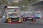 Chaz Mostert (Supercheap Auto Ford) leads the start of Race 2. 2016 Clipsal 500 Adelaide. V8 Supercars Championship Round 1. Adelaide Street Circuit, South Australia. Saturday 5 March 2016. Photo: Clay Cross / photosport.nz