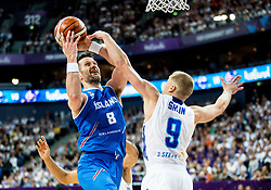 Hlynur Baeringsson of Iceland vs Sasu Salin of Finland during basketball match between National Teams of Finland and Iceland at Day 7 of the FIBA EuroBasket 2017 at Hartwall Arena in Helsinki, Finland on September 6, 2017. Photo by Vid Ponikvar / Sportida