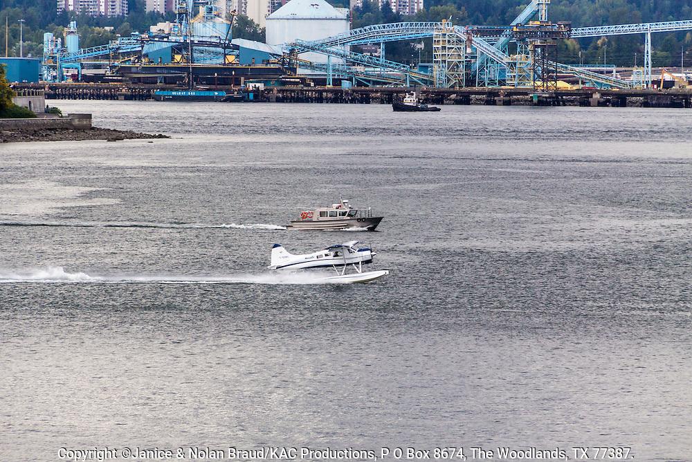 Seaplane in Vancouver Harbor in Vancouver, British Columbia, Canada.