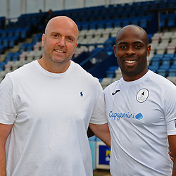 AFC Telford United pre-season photoshoot at the New Bucks Head Stadium on Thursday, August 1, 2019<br /> <br /> Theo Streete with sponsor<br /> <br /> Free for editorial use only<br /> Picture credit: Mike Sheridan/Ultrapress<br /> <br /> MS201920-004
