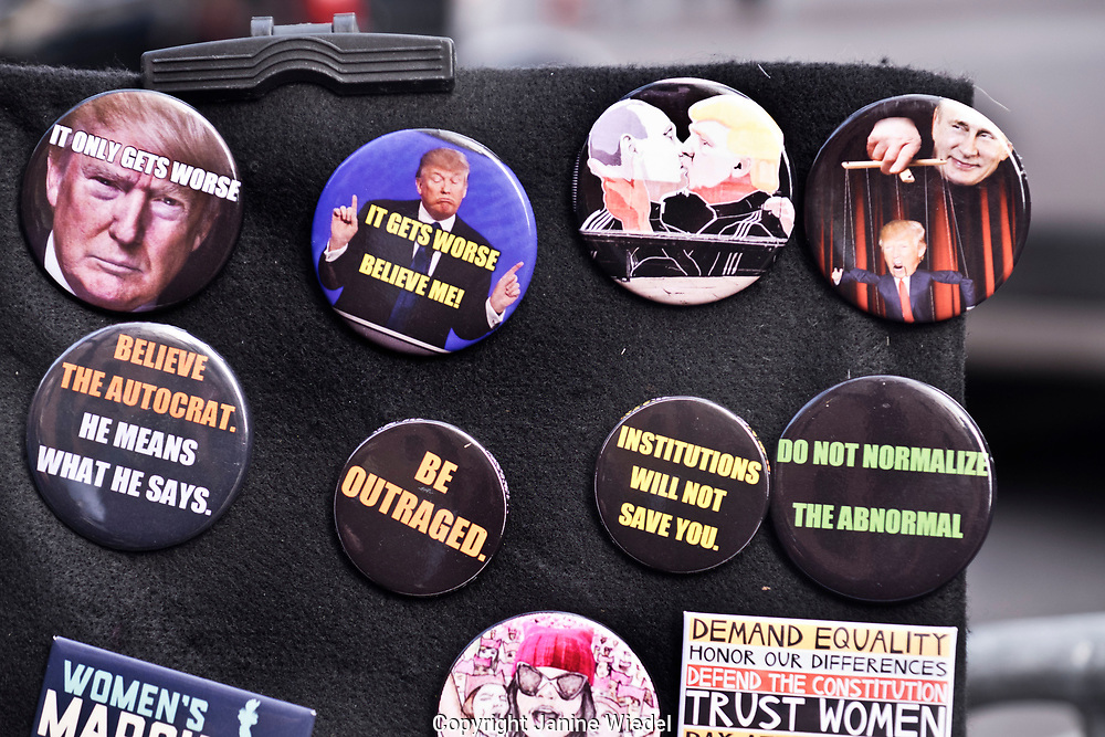 Anti Trump badges at Environmental protest in New York City 2nd Feb 2017