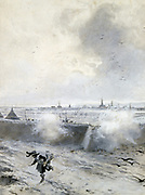 Siege of Arras, 1640, under Louis XIII. Arras taken by the French 10 August 1640. Francois Flameng (1856-1923): Guache and wash.
