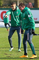 13.02.2015, Trainingsgel&auml;nde am Weserstadion, Bremen, GER, 1. FBL, SV Werder Bremen, Taining, im Bild Franco Matias Di Santo (SV Werder Bremen #9) gestikulierend mit offensichtlich guter Lane, Izet Hajrovic (SV Werder Bremen #14) im Vordergrund // during the training session on the training ground of the German Bundesliga Club SV Werder Bremen at the Trainingsgel&auml;nde am Weserstadion in Bremen, Germany on 2015/02/13. EXPA Pictures &copy; 2015, PhotoCredit: EXPA/ Andreas Gumz<br /> <br /> *****ATTENTION - OUT of GER*****
