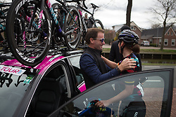 CANYON//SRAM Racing DS Barry Austin congratulates Lisa Brennauer (GER) after Stage 3 of the Healthy Ageing Tour - a 154.4 km road race, between  Musselkanaal and Stadskanaal on April 7, 2017, in Groeningen, Netherlands.