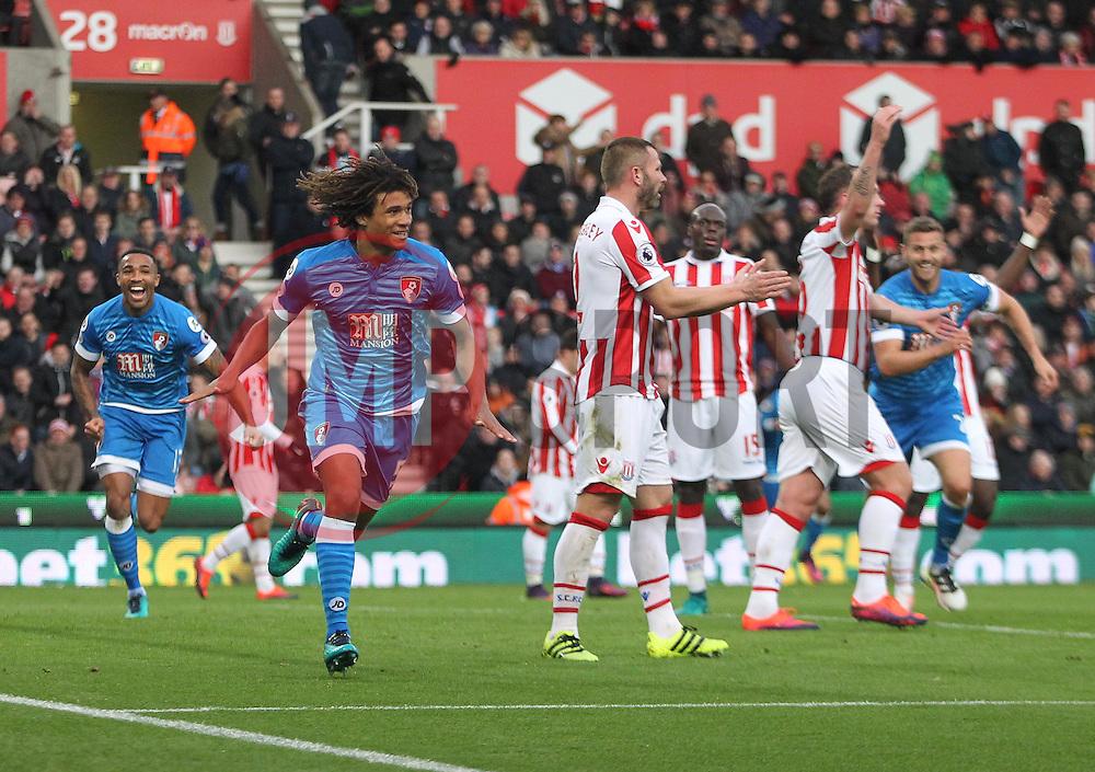 Nathan Ake of Bournemouth celebrates scoring his sides first goal - Mandatory by-line: Jack Phillips/JMP - 19/11/2016 - FOOTBALL - Bet365 Stadium - Stoke-on-Trent, England - Stoke City v Bournemouth - Premier League