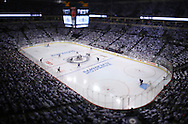 Image not for sale. A tilt shift photo of the opening face-off of game 4 of the playoffs between the Winnipeg Jets' and Anaheim Ducks', Wednesday, April 22, 2015.
