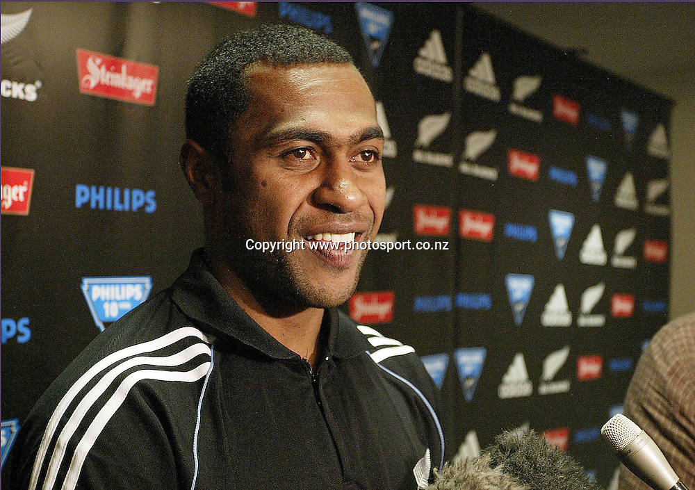 New All Black winger Sitiveni Sivivatu speaks to the media at the All Black team media call at the teams hotel in Auckland on Tuesday 07 June, 2005, Photo: Michael Bradley/PHOTOSPORT