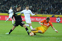 11.12.2014, Borussia Park, Moenchengladbach, GER, UEFA EL, Borussia Moenchengladbach vs FC Zuerich, Gruppe A, im Bild Branimir Hrgota (Borussia Moenchengladbach #31) scheitert frei vor dem Tor an Torwart David Da Costa (FC Zuerich #1) // during the UEFA Europaleague Group A match between Borussia Moenchengladbach and FC Zuerich at the Borussia Park in Moenchengladbach, Germany on 2014/12/11. EXPA Pictures &copy; 2014, PhotoCredit: EXPA/ Eibner-Pressefoto/ Schueler<br /> <br /> *****ATTENTION - OUT of GER*****