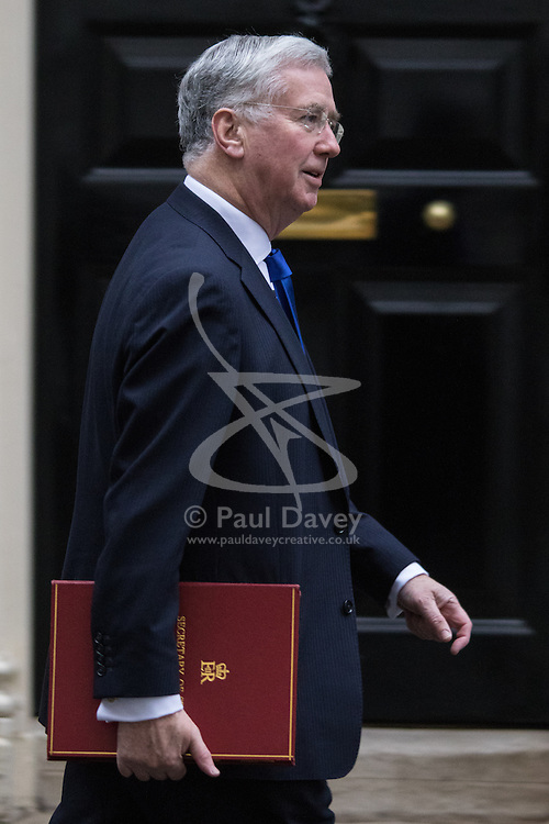 Downing Street, London, February 9th 2016.  Defence Secretary Michael Fallon arrives in Downing Street for the weekly cabinet meeting. ///FOR LICENCING CONTACT: paul@pauldaveycreative.co.uk TEL:+44 (0) 7966 016 296 or +44 (0) 20 8969 6875. ©2015 Paul R Davey. All rights reserved.