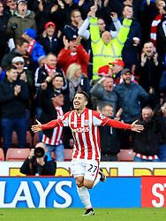 Bojan Krkic of Stoke City celebrates after scoring his sides second goal  - Mandatory by-line: Matt McNulty/JMP - 02/04/2016 - FOOTBALL - Britannia Stadium - Stoke-on-Trent, England - Stoke City v Swansea City - Barclays Premier League