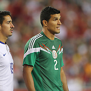 Francisco Rodríguez, (right), Mexico, waits for a corner while marked by André Almeida, Portugal, during the Portugal V Mexico International Friendly match in preparation for the 2014 FIFA World Cup in Brazil. Gillette Stadium, Boston (Foxborough), Massachusetts, USA. 6th June 2014. Photo Tim Clayton