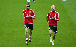 CARDIFF, WALES - Wednesday, June 1, 2016: Wales' Gareth Bale and Aaron Ramsey during a training session at the Vale Resort Hotel ahead of the International Friendly match against Sweden. (Pic by David Rawcliffe/Propaganda)