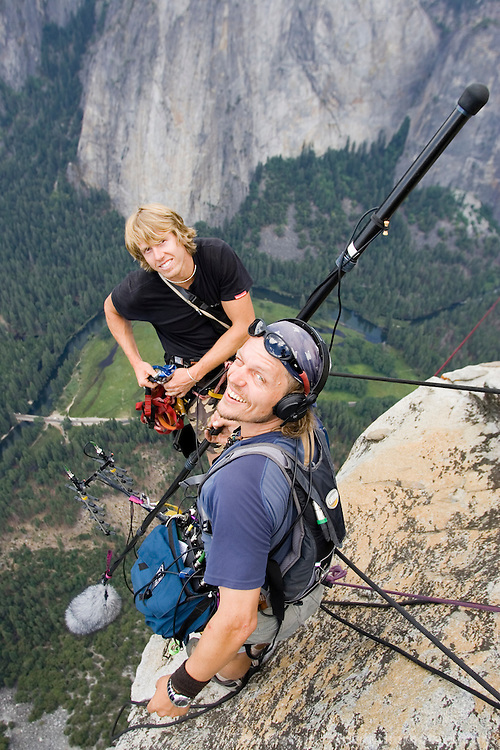 Soundman Joe Knauer and Camera Operator Franz Hinterbranduer on top of El Capitan for the filming of Am Limit, a Lotus Film production, about the climbing brothers Alexander and Thomas Huber and their attempt to break the speed climbing record on the Nose of El Capitan in Yosemite National Park, California, USA.