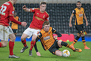 Sam Clucas (Hull City) is fouled by Bojan Jokić (Nottingham Forest) during the Sky Bet Championship match between Hull City and Nottingham Forest at the KC Stadium, Kingston upon Hull, England on 15 March 2016. Photo by Mark P Doherty.