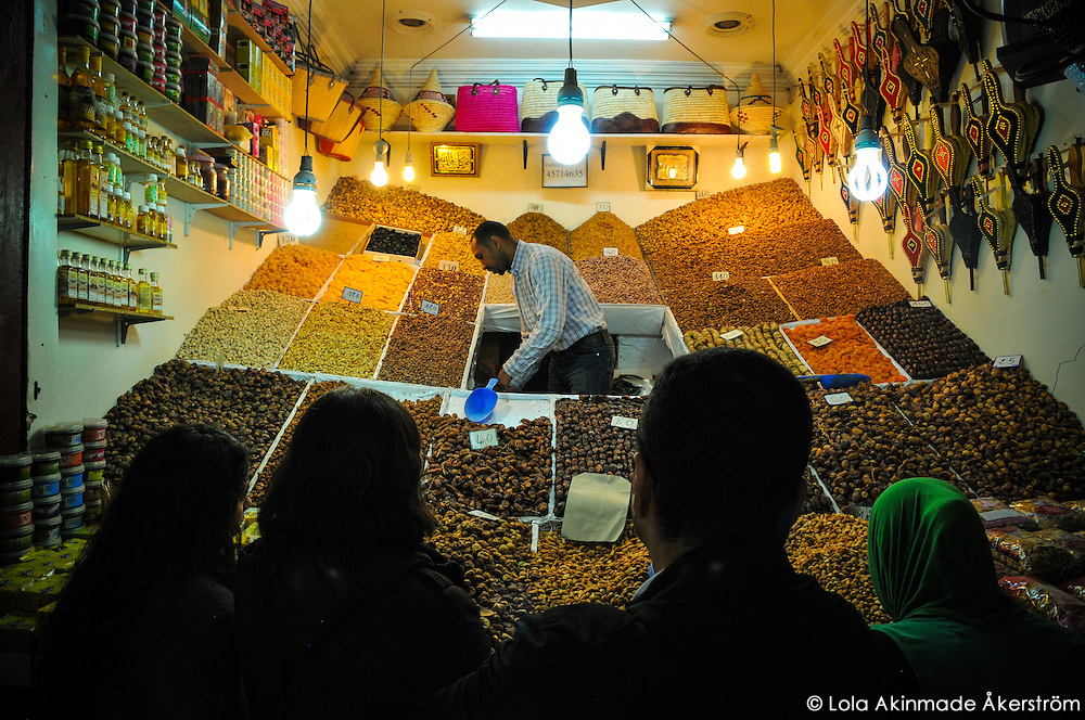 Morocco - Nuts, seeds, and dried fruits vendor in the souks of Marrakech