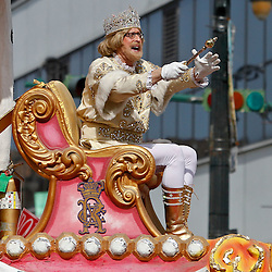 February 21, 2012; New Orleans, LA, USA; Hardy B. Fowle rides a top a float as King Rex, The King of Carnival as the krewe of Rex parade rolled along Canal Street throwing beads, and various trinkets on Mardi Gras day in New Orleans, Louisiana. Mardi Gras is an annual celebration that ends at midnight with the start of the Catholic Lenten season which begins with Ash Wednesday and ends with Easter. Photo by: Derick E. Hingle