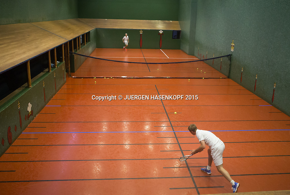 Royal Melbourne Tennis Club, Real tennis is the original racquet sport from which the modern game of lawn tennis, or tennis, is descended.<br /> <br /> Tennis - Royal Melbourne Tennis Club -  -  Royal Melbourne Tennis Club - Melbourne,Richmond - Victoria - Australia  - 27 January 2015.