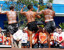 EXCLUSIVE: The English Commonwealth Games team at their Welcome Ceremony at Games Village on the Gold Coast. Some team members got into the music and danced with the Indigenous dancers. 02 Apr 2018 Pictured: English team watch Indigenous entertainment dancers at the Welcome ceremony. Photo credit: MEGA TheMegaAgency.com +1 888 505 6342
