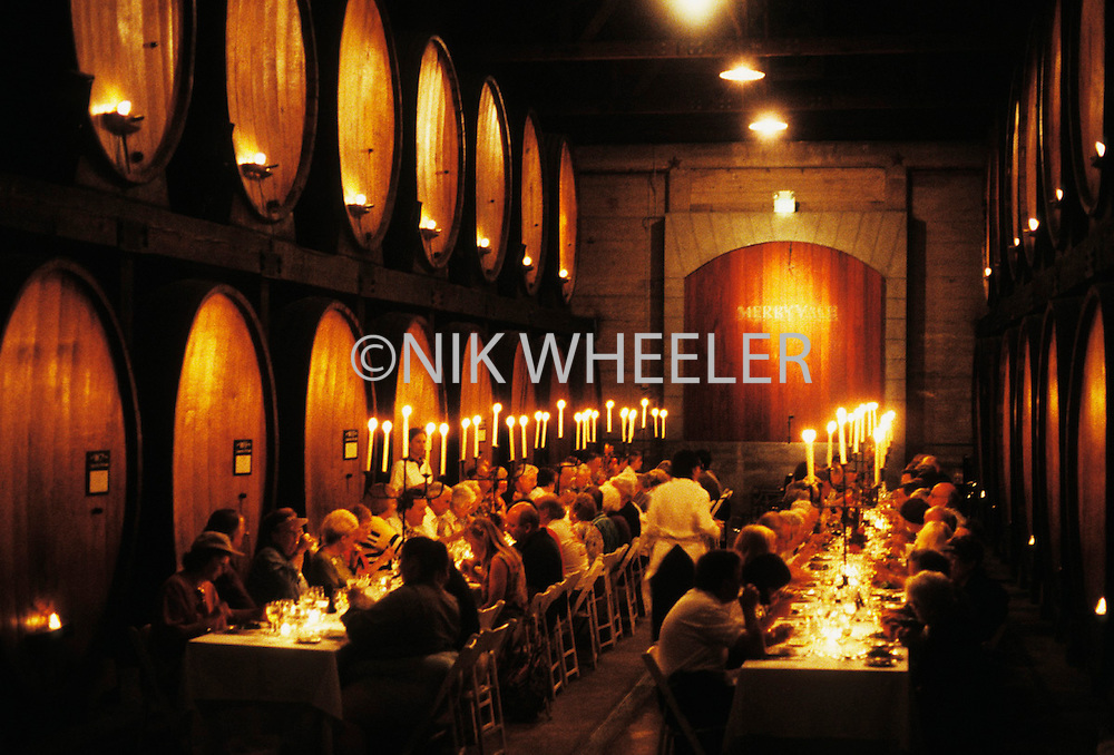 People eat lunch in Cask Room at the Merryvale Winery in Napa Valley of California.