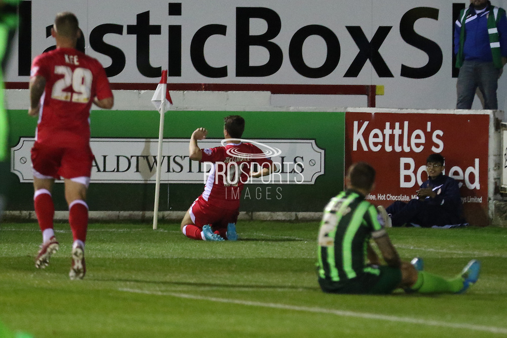 Sean McConville restores Accrington's lead during the Sky Bet League 2 match between Accrington Stanley and AFC Wimbledon at the Fraser Eagle Stadium, Accrington, England on 20 October 2015. Photo by Stuart Butcher.