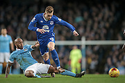 Gerard Deulofeu (Everton) is tackled by Fabian Delph (Manchester City) during the Capital One Cup semi-final match between Manchester City and Everton at the Etihad Stadium, Manchester, England on 27 January 2016. Photo by Mark P Doherty.