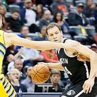 04 March 2016: Denver Nuggets center Joffrey Lauvergne (77) and Denver Nuggets forward Will Barton (5) defend on Brooklyn Nets guard Bojan Bogdanovic (44) during the Brooklyn Nets 121-120 victory over the Denver Nuggets, at the Pepsi Center, Denver, Colorado, USA.