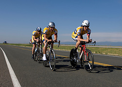 The University of California - Berkeley team of Rob Dahl, Lucas Binder, Max Jenkins, and Tom Reynolds competes in the men's division 1 race.  The 2008 USA Cycling Collegiate National Championships Team Time Trial event was held near Wellington, CO on May 9, 2008.  Teams of 3 or 4 riders raced over a 20km out and back course that ran along a service road to Interstate 25.