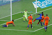 Paul POGBA (FRA) missed to score against Jasper CILLESSEN, Tonny TRINDADE DE VILHENA (NED), Georginio WIJNALDUM (NED), Stefan DE VRIJ (NED), Daley BLIND (NED) during the FIFA World Cup Russia 2018, Qualifying Group A football match between France and Netherlands on August 31, 2017 at Stade de France in Saint-Denis, France - Photo Stephane Allaman / ProSportsImages / DPPI