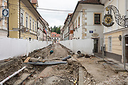Roadworks that have closed Maistrove Ulica (street) in the rural central Slovenian town of Kamnik, on 25th June 2018, in Kamnik, Slovenia.